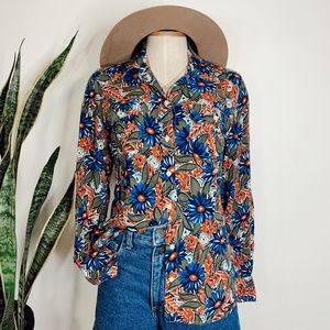 • LUCKY BRAND • colorful floral button down top
